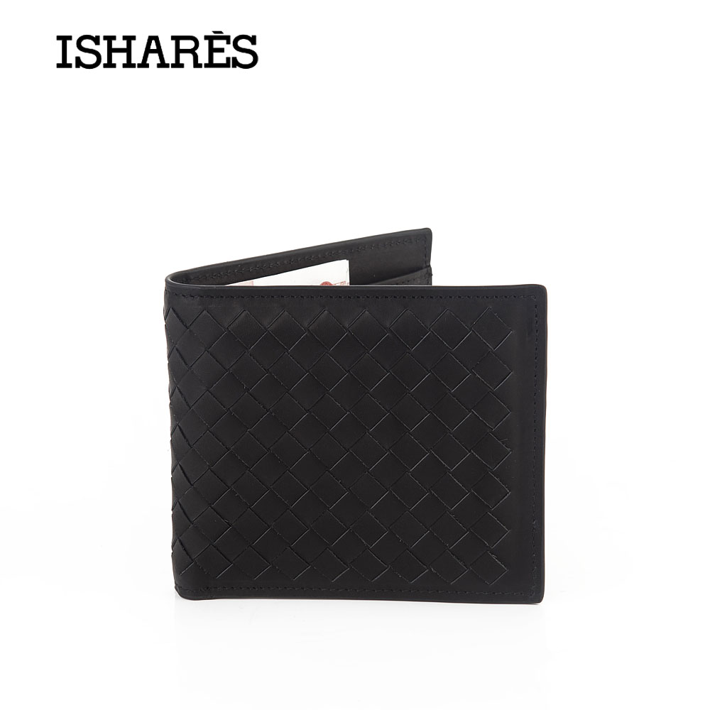 ISHARES High quality men short handmade weave genuine leather wallets male fashion cow leather horizontal purse IS6003A fashion purse purse fashionwallet male - AliExpress