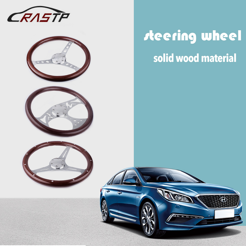 15inch 380mm Steering Wheel Classic Sport Wooden Grain Silver Brushed Spoke Chrome RS-STW015