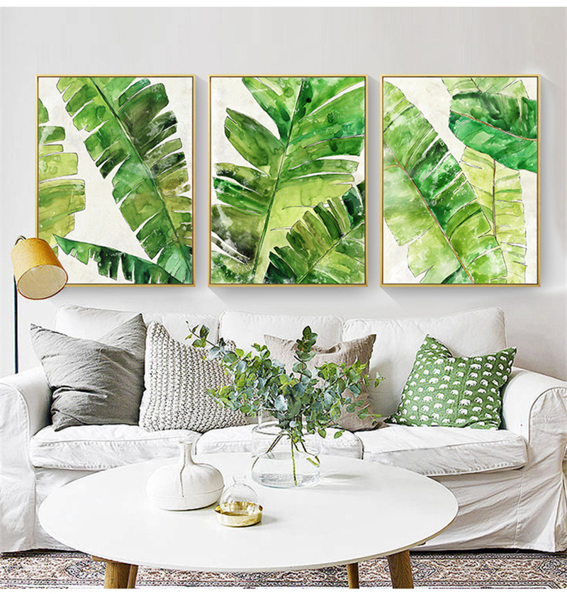 Tropical Plant Banana Leaf Canvas Mural Painting Nordic