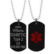 high quality custom Stainless Steel Black Medical ID Dog tag with chain Free engraving