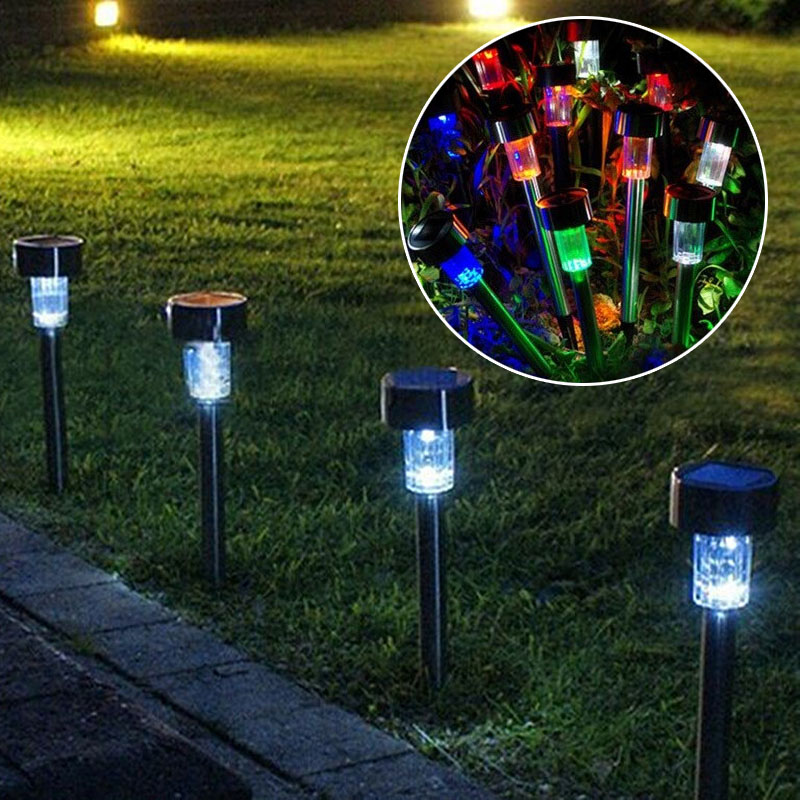 10pcs Stainless Steel Solar Energy Lawn LED Lamp E2shopping CLH