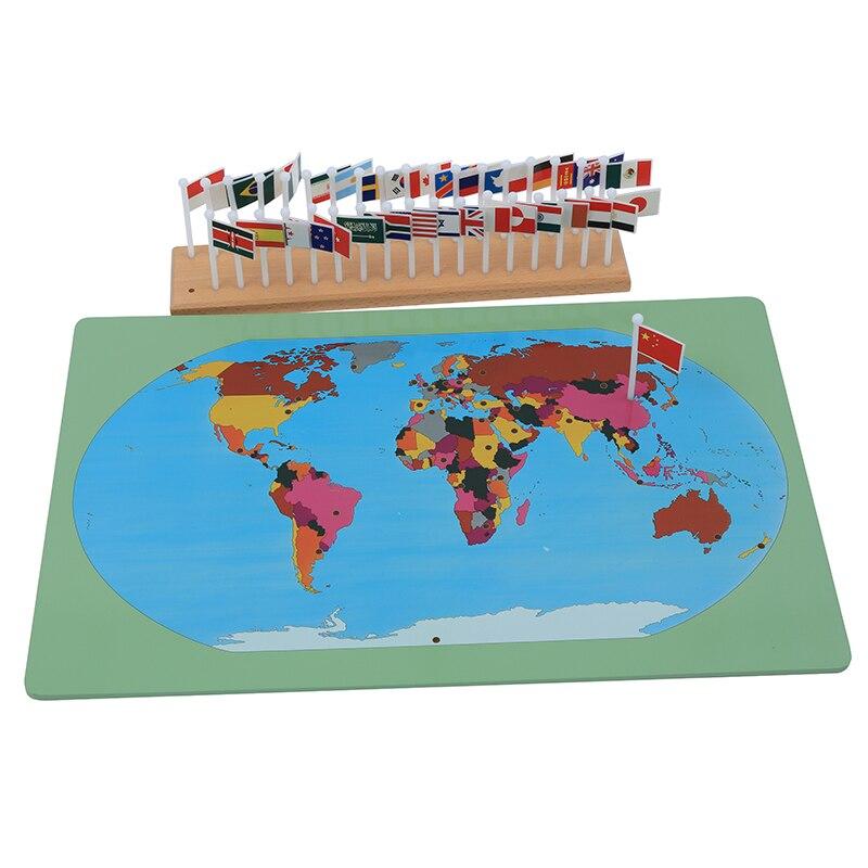 Bébé jouet Montessori drapeaux nationaux apprentissage et éducation éducation de la petite enfance enfants Brinquedos Juguetes - 3