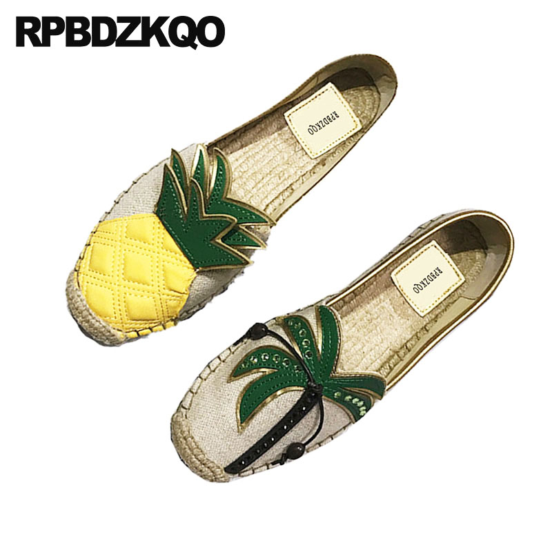 Shoes Flats Pineapple Canvas Espadrilles Women Summer Fisherman Breathable Straw Cute Round Toe Hemp Cheap Designer Slip On bowtie hemp black ankle strap white canvas espadrilles shoes bow flats fisherman sandals ladies lace up women straw cute pom pom
