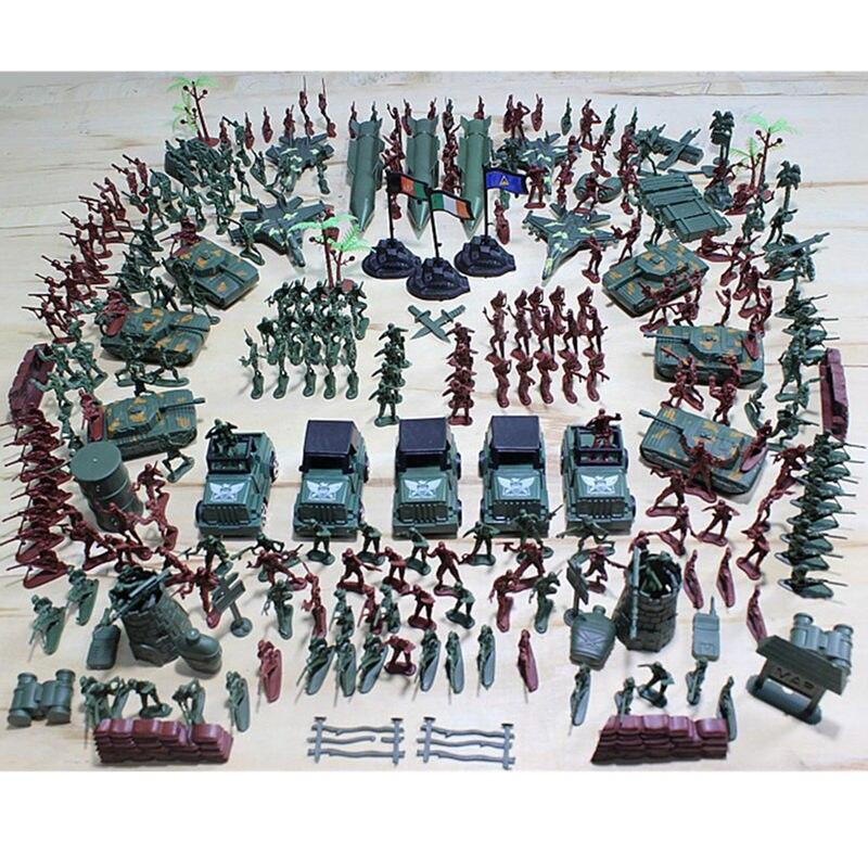 307Pcs Soldier Kit Grenade Tank Aircraft Rocket Army Men Sand Scene Model Action Figures Toys For Childern Kids