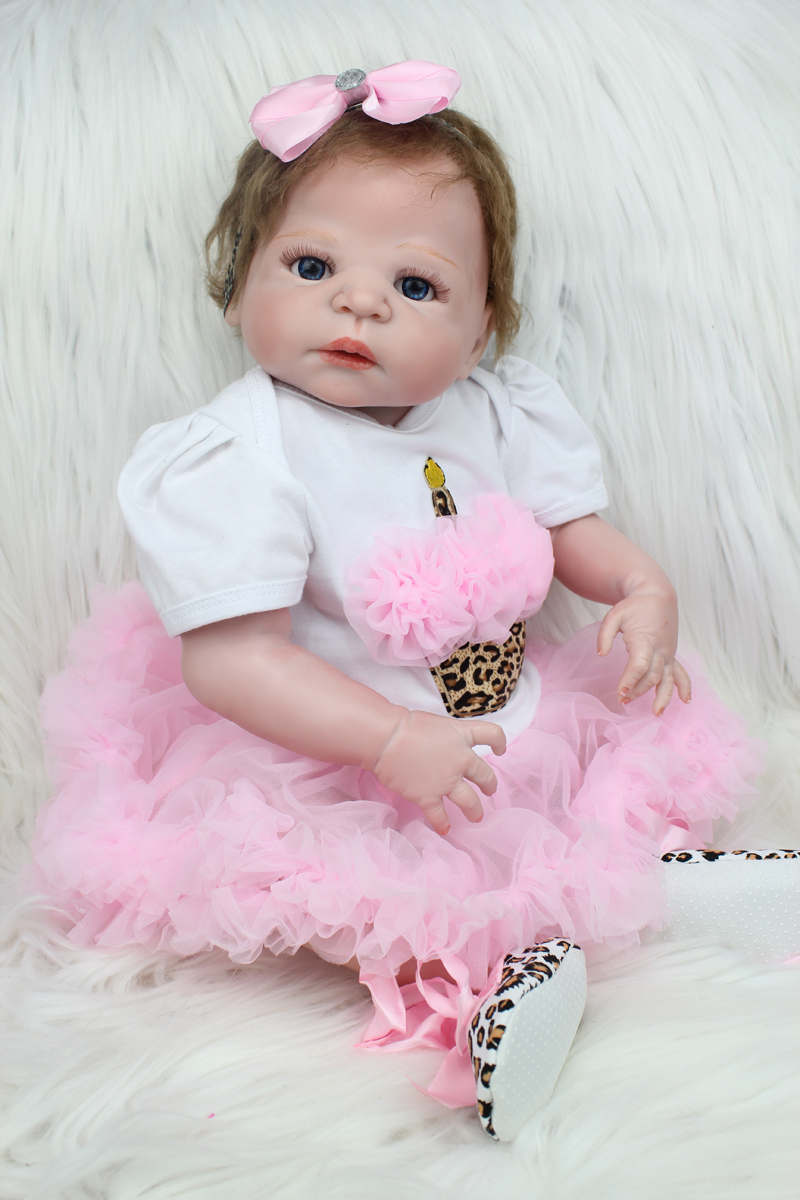 55cm Full Silicone Reborn Girl Baby Doll Toys Newborn Princess Toddler Babies Doll Birthday Gift Bathe Toy With Pacifier Chain 55cm full silicone reborn baby doll toy real touch newborn princess toddler babies alive bebe doll with pacifier girl bonecas