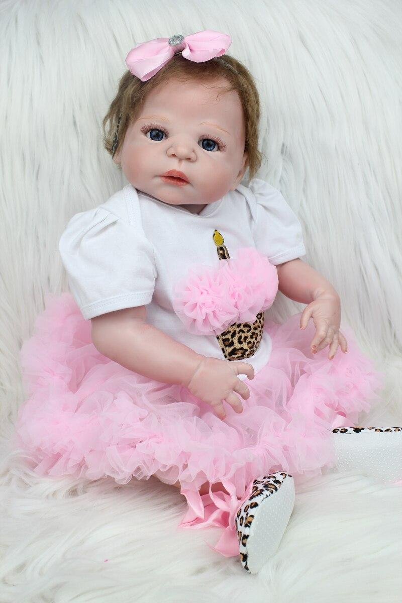 где купить 55cm Full Silicone Reborn Girl Baby Doll Toys Newborn Princess Toddler Babies Doll Birthday Gift Bathe Toy With Pacifier Chain по лучшей цене