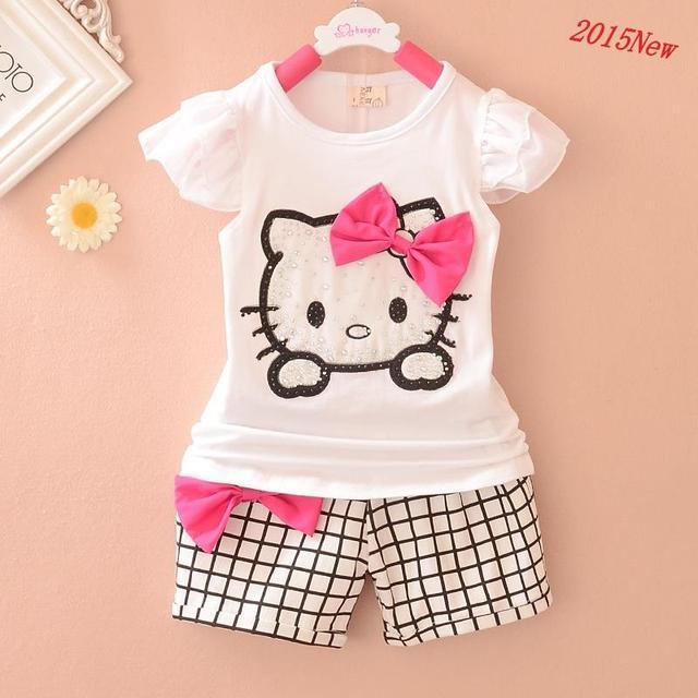 0-3 лет 1 компл. baby girl одежда 2015 летний новый 100% хлопок KT кот шаблон жилет + шорты детская одежда 2 шт. baby girl одежда