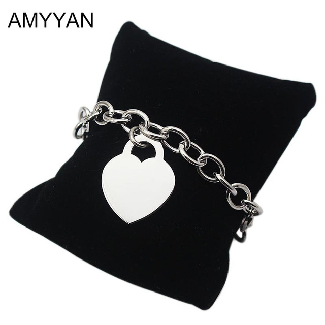 Famous Brand Chain Link Bracelets Love Heart Lock Chunky Bangles For