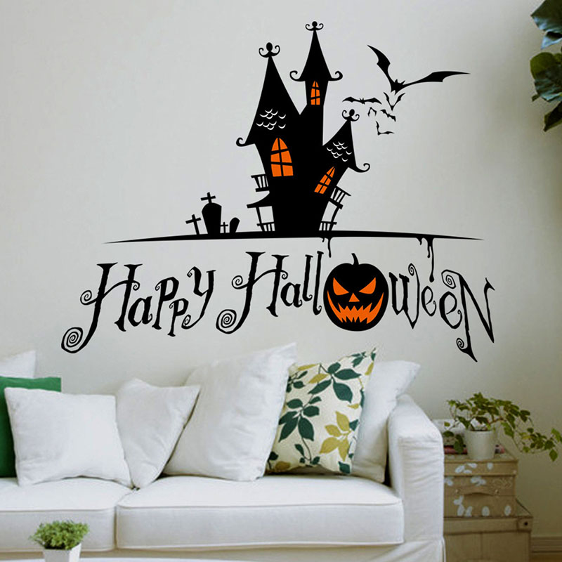 newest happy halloween sorcerer pumpkins bats home decor wall stickers creative party kids gift sticker shop - Cheap Decorations For Halloween
