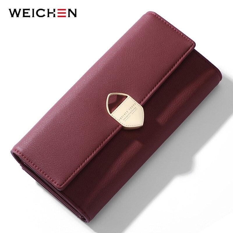 WEICHEN Geometrische Frauen Lange Brieftasche Viele Abteilungen Weibliche Brieftaschen Dame Kupplung Geldbörsen Karte Halter Handy Tasche Carteras