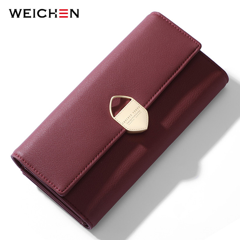 WEICHEN Geometric Women Long Wallet Many Departments Female Wallets Lady Clutch Purses Card Holder Cell font