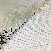 New Luxury 5mm Mermaid Sequin Fabric White Silver Reversible Sequin Fabric for Wedding Dress,diy Sewing Pillow Cushion Cover