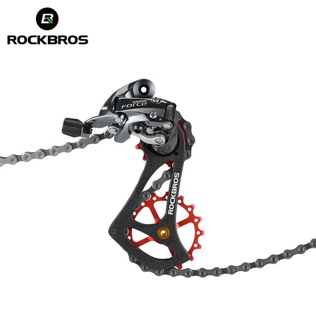 ROCKBROS 11 vitesses en Fiber de carbone vélo dérailleur arrière Guide vélo poulies roulement Jockey ensemble de roues pièces de vélo RIVAL FORCE rouge