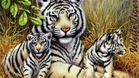 Beautiful Abstract Beautiful Tiger Big Family 5 Sizes Silk Fabric Canvas Oil Painting Poster Printing Wall