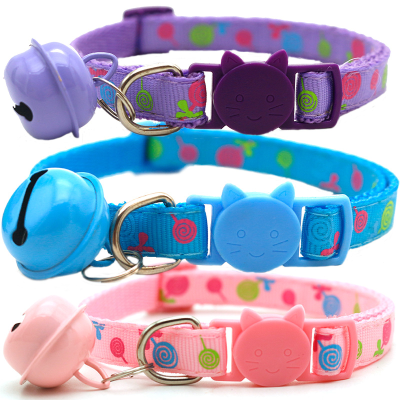 1pcs Adjustable Breakaway Cat Collar With Bell Rainbow Cat Collar Dog Lollipop Prints Pet Cats Collars For Small Dog Necklace