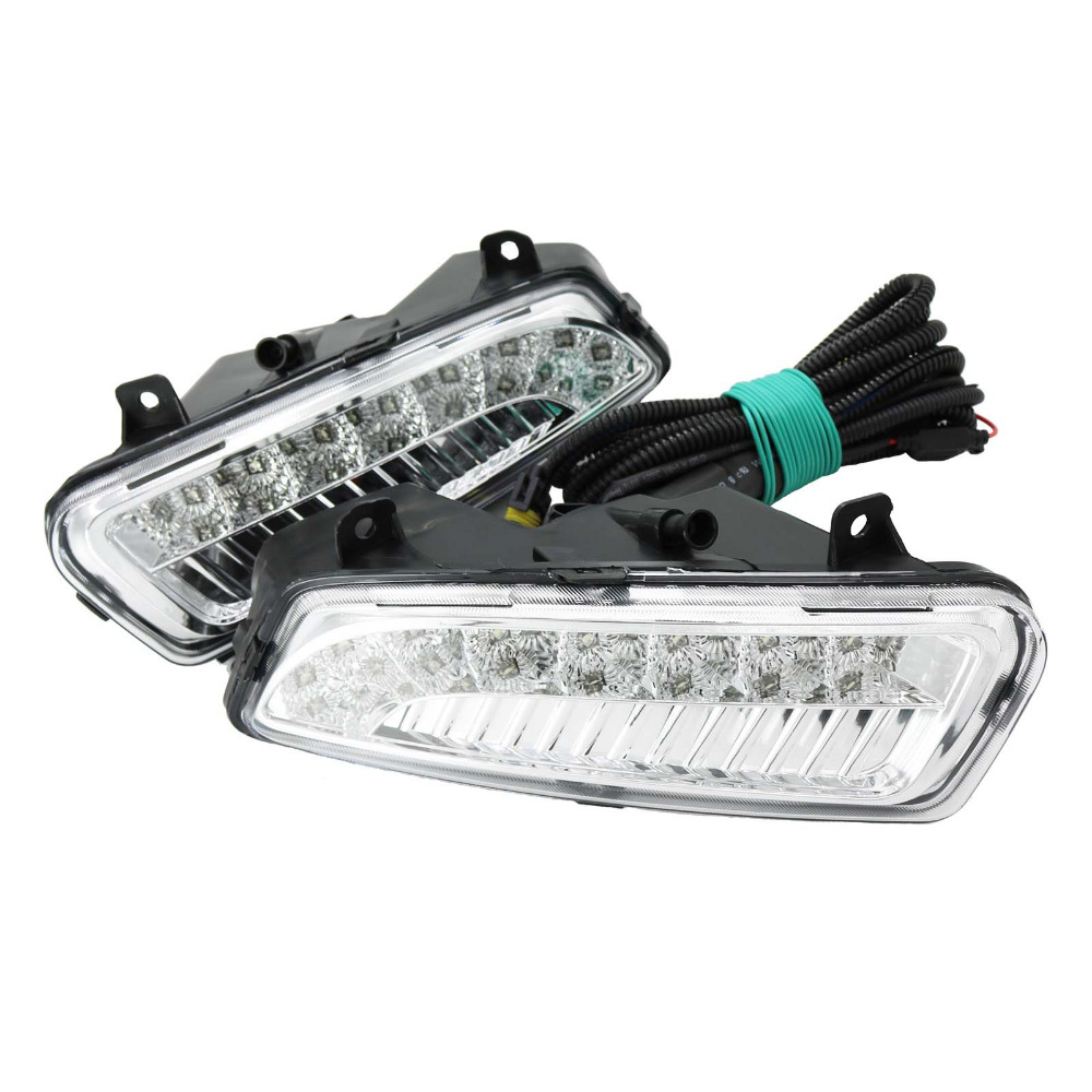 2Pcs For VW Polo 2010 2011 2012 2013 2014 8 LED DRL Daytime Running Lights okeen 2pcs high quality led drl for ford raptor f150 2010 2011 2012 2013 2014 daytime running lights with turn signal lamp 12v