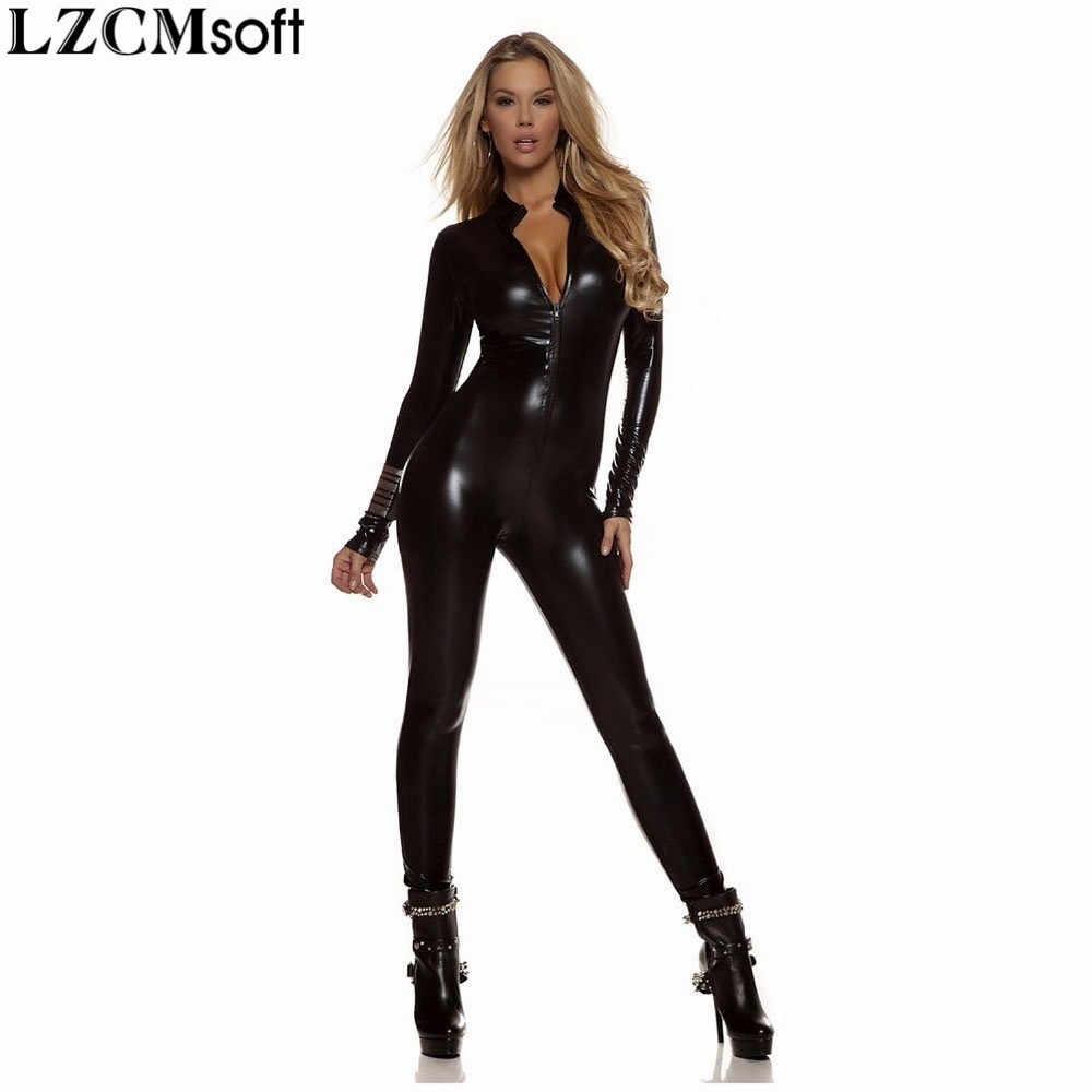 LZCMsoft женский полный боди Unitard черный облегающий комбинезон с длинным рукавом лайкра Золотой спереди молния водолазка металлик зентай боди