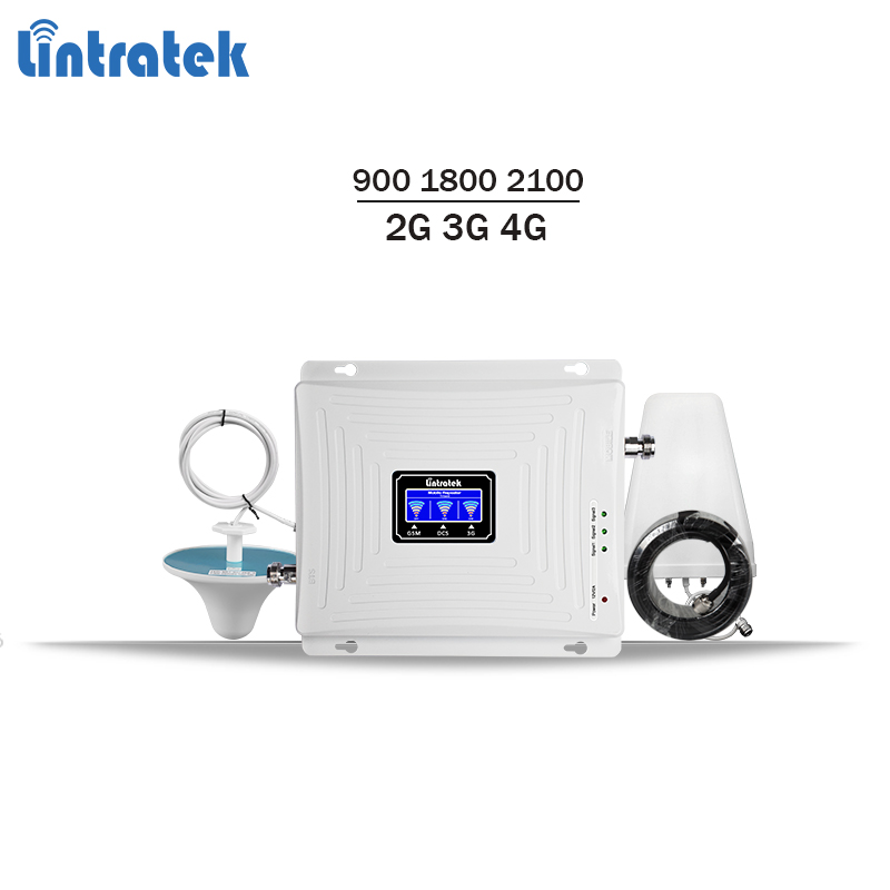 Lintratek tri band repeater 900 1800 2100 2G 3G 4G signal booster gsm 900 lte 1800 3g 2100 mobile signal amplifier KW20C-GDW #59