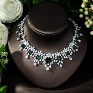 Image 4 - HIBRIDE najnowszy luksusowy Sparking Brilliant Cubic naszyjnik cyrkoniowy kolczyki ślubne biżuteria dla nowożeńców sukienka akcesoria N 988