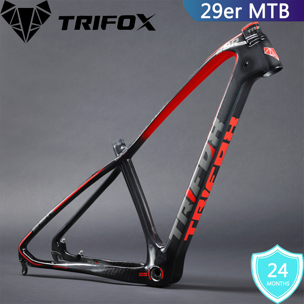 TRIFOX Bike-Frame Mountain-Carbon 29er Seat-Clamp Headset MTB Warranties 2-Year 17/19inch