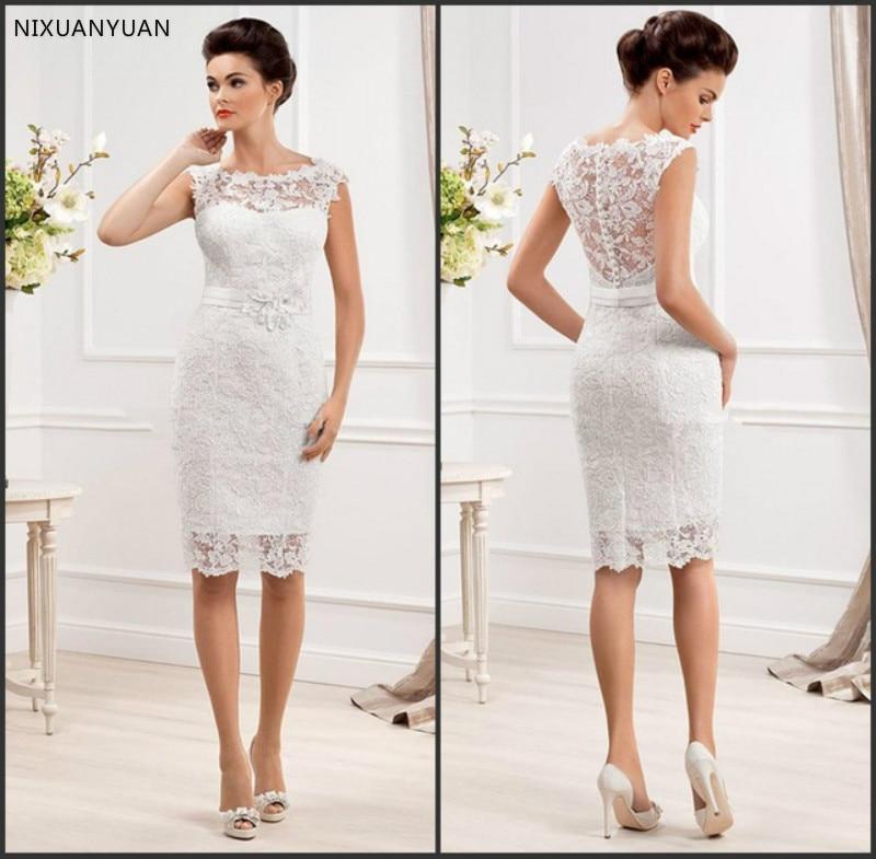 New Fashionable Cap Sleeve White Short Wedding Lace Dresses 2020 Vestido De Renda Curto Bride Dresses