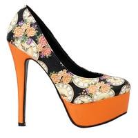 LF80839 Elegant Black Floral Colock Platform Stiletto Platform Pumps Size 4/5/6/7/8/9/10