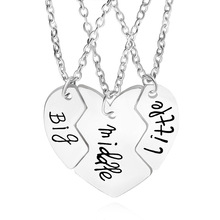 3PCs/set Broken Heart Pendant Necklace Big Middle Little Sister Brother Friendship Family Jewelry Best Friends Forever BFF Gifts