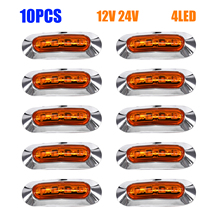10 pcs 10 V-24 V 4LED IP67 Camion Side Marker Lamp Ampio Avvertimento Posteriore Lampada Ambra Turck Lato light Car Styling