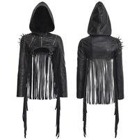 Панк RAVE модные женские туфли Новинка панк рок куртка личность кожа куртка с капюшоном Для женщин с короткими кисточками Панк пальто куртки