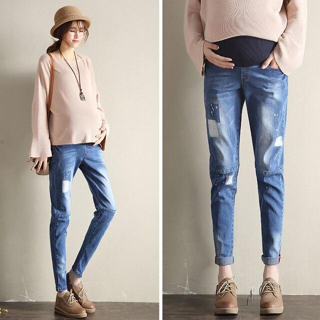 c391aec5941da8 Yuanjiaxin Elastische Taille Winter Jeans Hose Frauen kleidung  Schwangerschaft Kleidung Baumwolle Mutterschaft Kleidung Schwangere Hosen  Warme