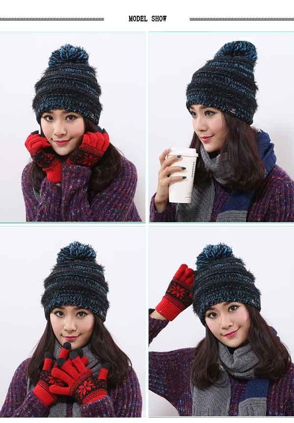Women\'s Faux Fur Pom Pom Fleece Lined Knitted Slouchy Beanie Hat (9)