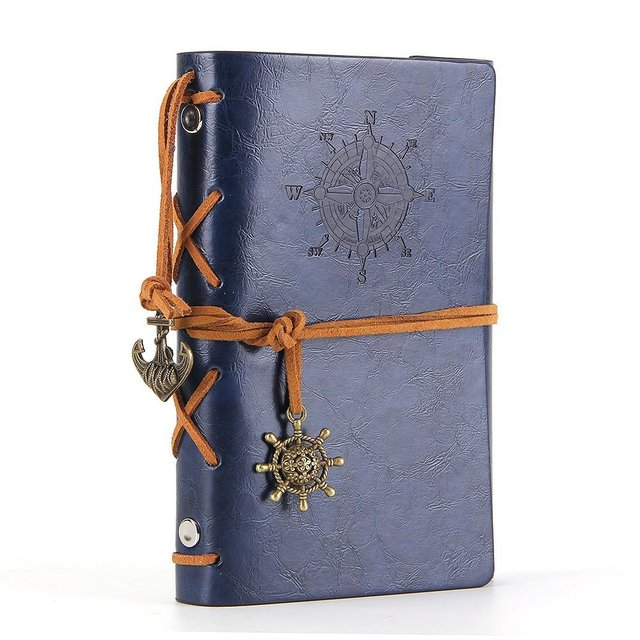 US $3 23 10% OFF|Leather Writing Journal Notebook A5 Vintage Nautical  Spiral Blank String Daily Notepad Travel to Write in,Dark Blue-in Notebooks  from