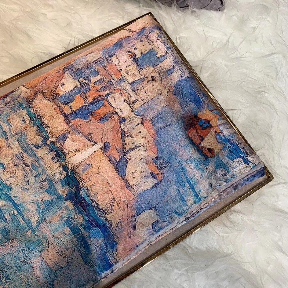 design cáqui azul 100% lenço de seda pura xale