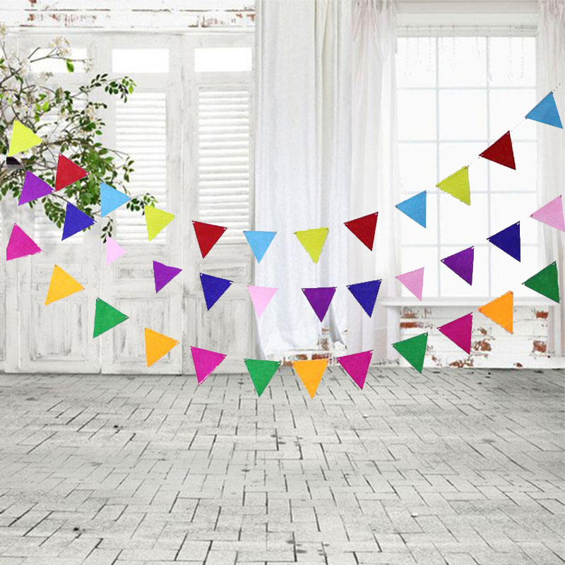 12Flags/Set DIY Non-woven Flags Garland Floral Bunting Banners Kids Baby Birthday Wedding Party Decoration Supplies Banner