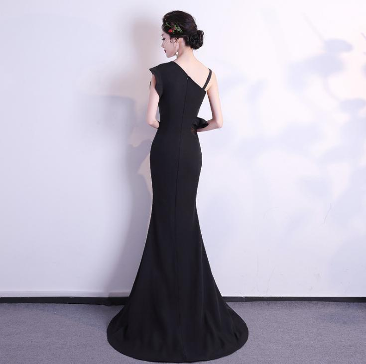 BANVASAC 2018 One Shoulder Ruffles Mermaid Long Evening Dresses Elegant Party Satin Sweep Train Backless Prom Gowns in Evening Dresses from Weddings Events
