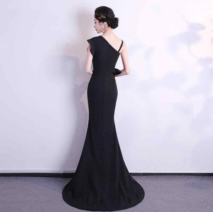 BANVASAC 2018 כתף אחת ראפלס בת ים ארוך שמלות ערב מסיבה אלגנטית סאטן טאטא רכבת ללא משענת לנשף שמלות