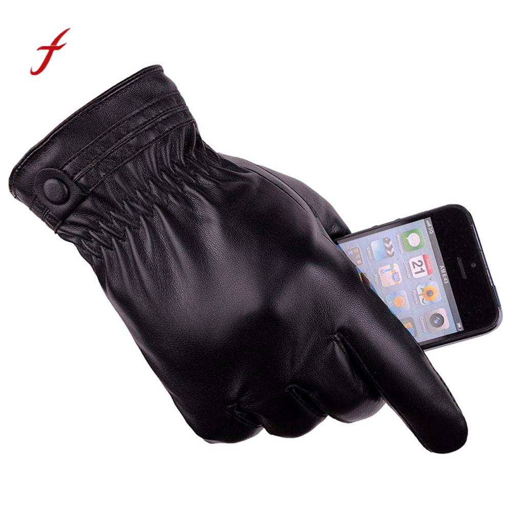 Fashion Men PU Leather Driving Glove Touchs Winter Screen Warm Motorcycle Ski Snow Snowboard Gloves for Fitness Cell Phone