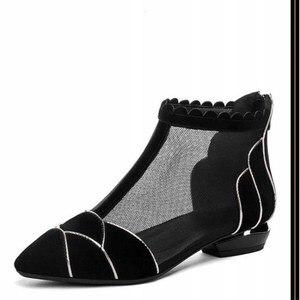 Image 5 - Botas de tornozelo 2020 nova sexy oco marcas de luxo salto alto mulher excelente senhoras sapatos malha boot sapato feminino botines mujer