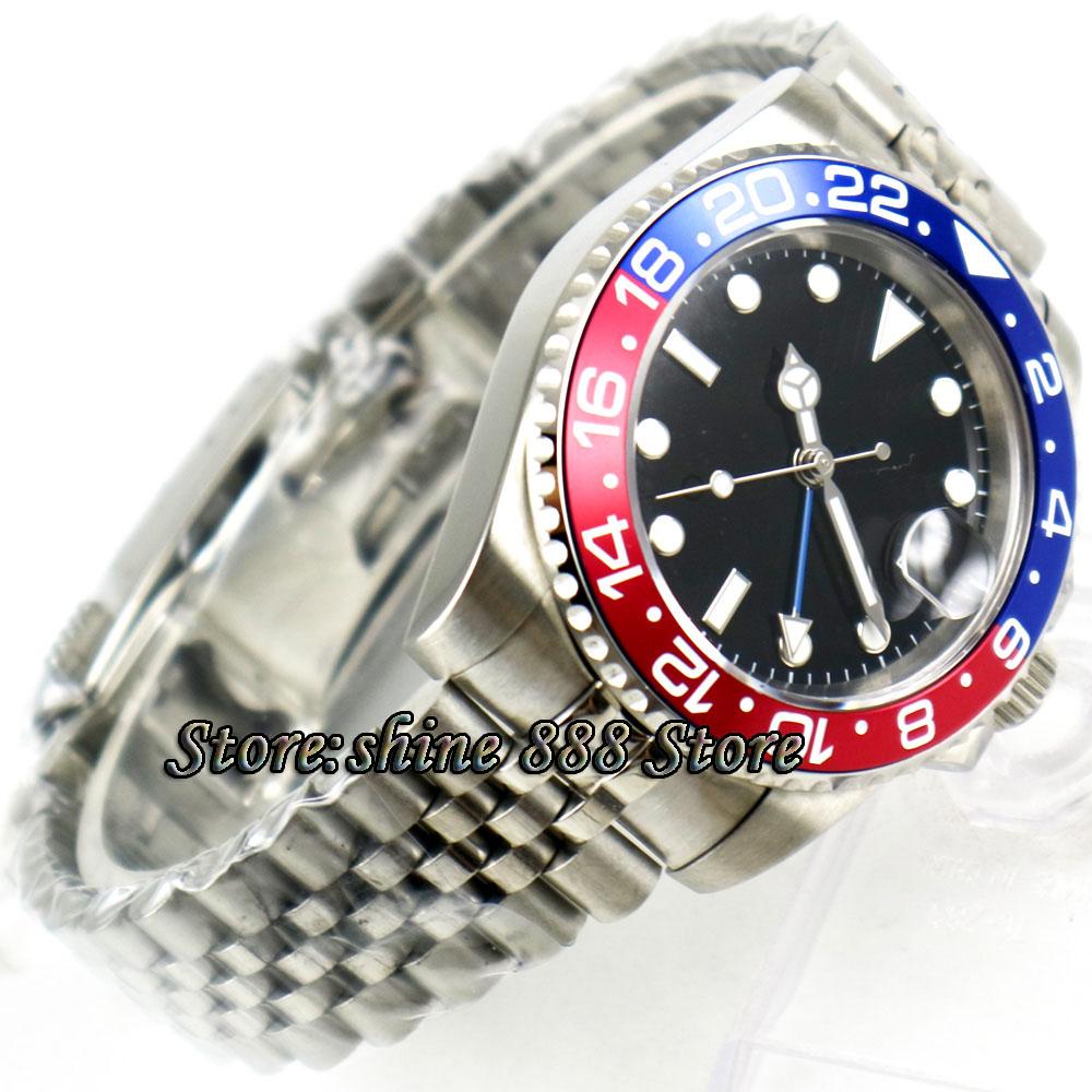 Reloj Automático para hombre de 40mm PARNIS negro estéril dial Pepsi bisel Jubilee correa de acero zafiro azul GMT-in Relojes mecánicos from Relojes de pulsera    3