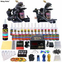 New 2 Pro Machine Guns Tattoo Kit 28 Inks Power Supply Needle Grips TK224 Free Shipping