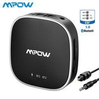 Mpow Bluetooth 5,0 приемник передатчик аудио адаптер Поддержка оптический Toslink/Aux/порт RCA APTX HD/низкая Задержка/APTX для ТВ автомобиля