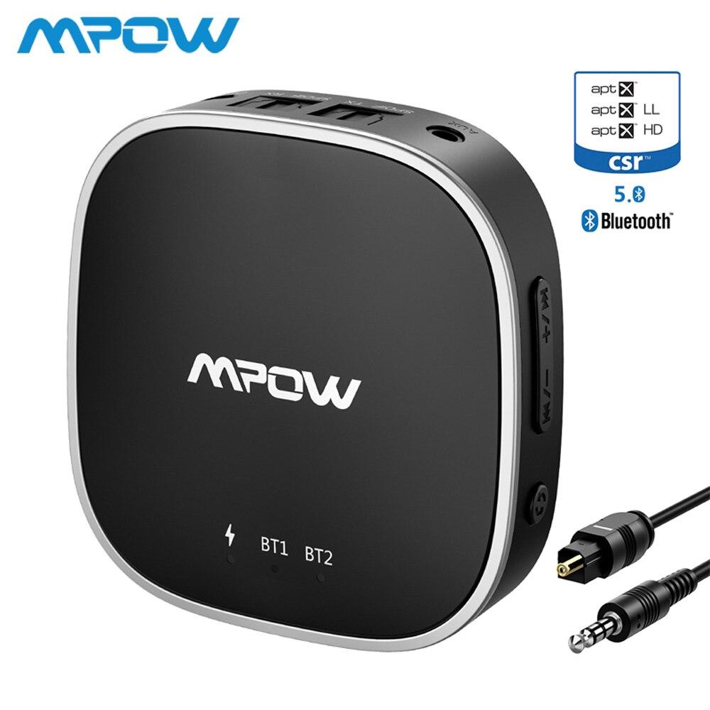 Mpow Bluetooth 5.0 Receptor Transmissor Suporte Adaptador de Áudio Óptico Toslink/Aux/Porta RCA APTX HD/baixa Latência /APTX Para TV Carro