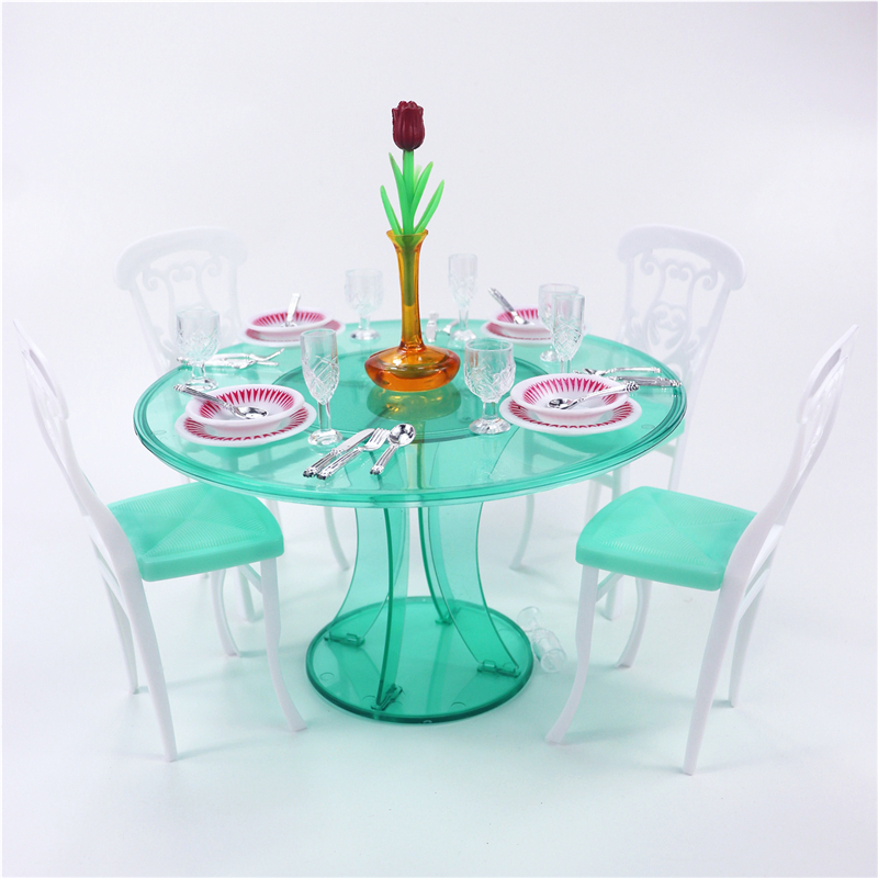 For Barbie Meal Time Furniture Modern Green Transparent Round Dining Table With 4 Set Tablewares Chairs For 1/6 Doll