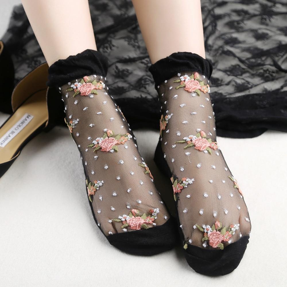 Women/'s Elastic Ultrathin Ankle Socks Short Stocking Crystal Lace Transparent.s