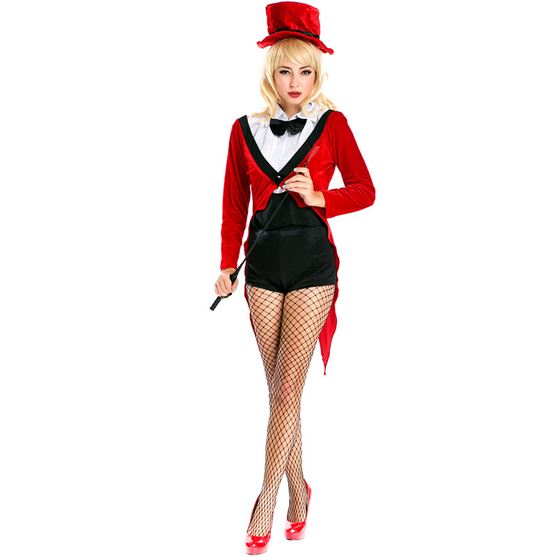 Mini Top Hat Adult Womens Black and Red Steampunk Vampire Costume Fancy Dress