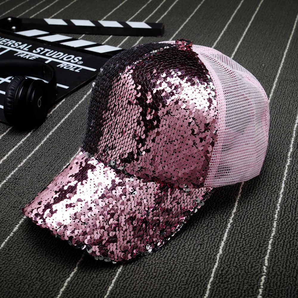 76ef8bc53 ... 2019 Glitter Ponytail Baseball Cap Messy Bun Dad Hats For Women Sequins  Shine Summer Mesh Trucker
