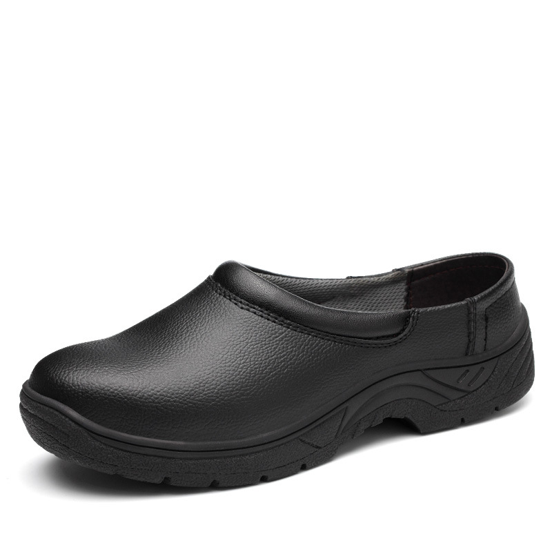 mens casual breathable black steel toe caps work safety chef shoes slip-on soft leather non-slip kitchen cook security boots man france tigergrip waterproof work safety shoes woman and man soft sole rubber kitchen sea food shop non slip chef shoes cover