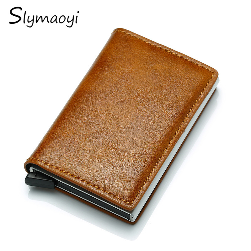 Top Quality Wallet Men Money Bag Mini Purse 2019 Male Vintage Automatical Aluminium Rfid Card Holder Wallet Small Smart Wallet in Wallets from Luggage Bags