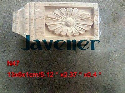 N47 -13x6x1cm Wood Carved Long Square Applique Flower Frame Door Decal Working Carpenter