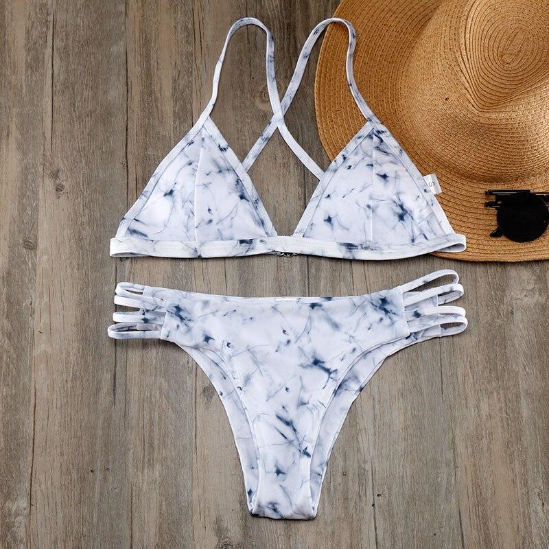 Bikini 2018 Bikinis Women Swimsuit Marble Prints criss-cross Bandage Swimwear Bathing Suit Cut Out Bikini Set Beach Swim Wear